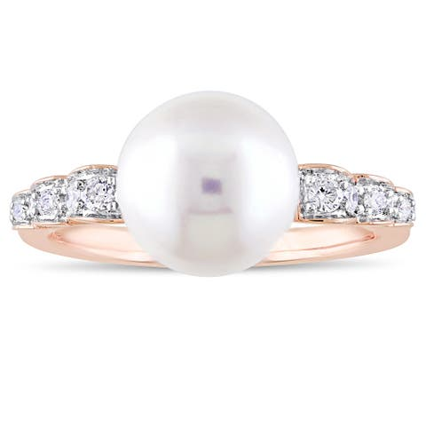 Miadora Signature Collection 10k Rose Gold Cultured Freshwater Pearl and 1/8ct TDW Diamond Solitaire Ring (9-9.5 mm) - White