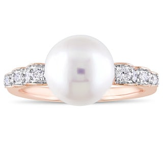 Miadora Signature Collection 10k Rose Gold Cultured Freshwater Pearl And 1 8ct TDW Diamond Solitaire Ring 9 9 5 Mm White