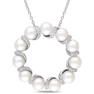 Miadora Sterling Silver Cultured Freshwater Pearl and 1/5ct TDW Diamond Clustered Open Ring Necklace - White