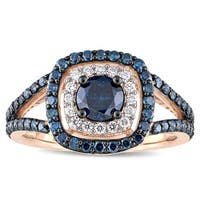 Miadora Signature Collection 10k Rose Gold with Black Rhodium 1-1/3ct TDW Blue and White Diamond Double Halo Engagement Ring
