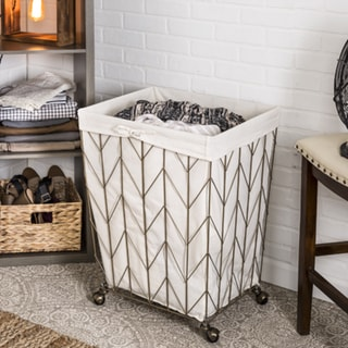 Honey Can Do Coastal Collection Decorative Rolling Hamper, Bronze