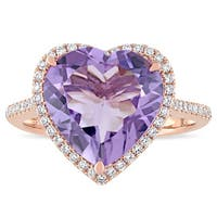 Miadora Signature Collection 14k Rose Gold Amethyst and 1/3ct TDW Diamond Heart Halo Cocktail Ring