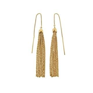 Eternally Haute Italian 14k Gold Plated Sterling Silver Sparkle Tassel Drop Earrings
