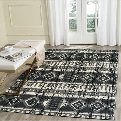 "LR Home Infinity Grey Distressed Southwest Area Rug ( 7'9"" x 9'5"" ) - 7'9 x 9'6"