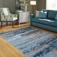 LR Home Infinity Light and Spa Blue Olefin Indoor Area Rug - 7'9 x 9'5
