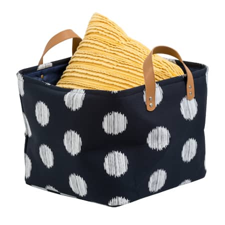 Honey Can Do Coastal Collection Decorative Storage Bin Set, Navy and Grey Dot