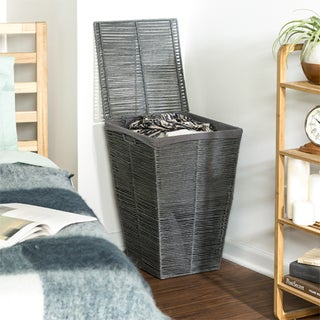 Honey Can Do Coastal Collection Laundry Hamper with Lid, Cool Grey