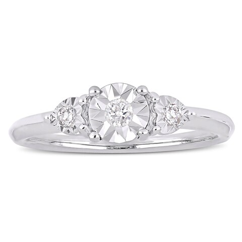 Miadora Sterling Silver 1/10ct TDW Diamond 3-Stone Engagement Ring