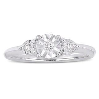 Miadora Sterling Silver 1/10ct TDW Diamond 3-Stone Engagement Ring - White