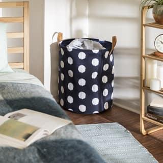 Honey Can Do Coastal Collection Decorative Portable Laundry Bin, Navy and Grey Dot