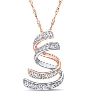Miadora Signature Collection 2-Tone 14k White and Rose Gold 1/5ct TDW Diamond Layered Swirl Journey Necklace