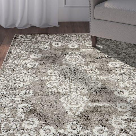 "LR Home Infinity Stone /Gardenia Victorian Area Rug ( 7'9"" x 9'5"" ) - 7'9 x 9'6"