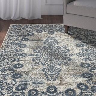 "LR Home Infinity Gardenia / Blue Victorian Area Rug ( 7'9"" x 9'5"" ) - 7'9 x 9'6"