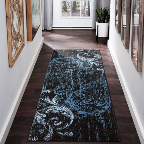 "LR Home Infinity Contemporary Quill Black/ Sky Blue Olefin Rug - 2'1"" x 7'5"""