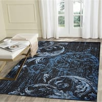LR Home Infinity Black/Spa Blue Area Rug - 7'9 x 9'5