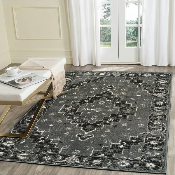 "LR Home Infinity Grey Geometric Medallion Area Rug ( 7'9"" x 9'5"" ) - 7'9"" x 9'5"""