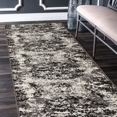 "LR Home Infinity Modern Distressed White/ Black Olefin Rug - 2'1"" x 7'5"""