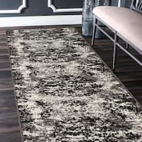 "LR Home Infinity Modern Distressed White/ Black Olefin Rug - 2'1"" x 7'5"""