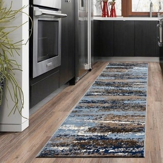 LR Home Infinity Light and Spa Blue Indoor Runner Rug - 2'2 x 7'6