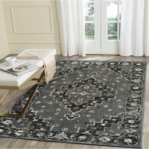 "LR Home Infinity Grey Geometric Medallion Area Rug ( 5'2"" x 7'2"" ) - 5'2 X 7'2"