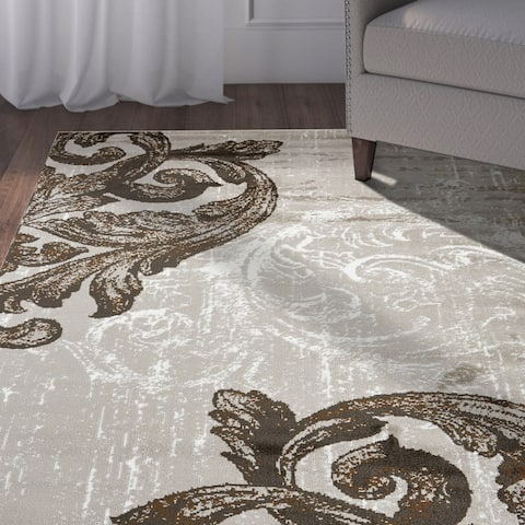 "LR Home Infinity Light Beige Filigree Area Rug ( 5'2"" x 7'2"" ) - 5'2 X 7'2"
