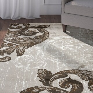 LR Home Infinity Light Beige/White Indoor Area Rug - 5'2 x 7'2