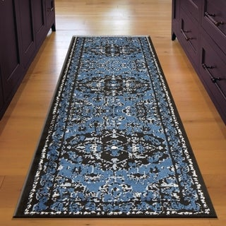 """LR Home Infinity Black and Spa Blue Indoor Runner Rug(2'1"""" x 7'5"""") - 2'2 x 7'6"""
