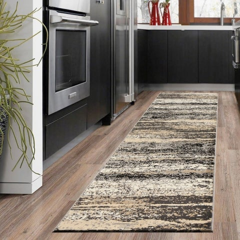 "LR Home Infinity Contemporary Abstract Gray/ Black Olefin Rug - 2'1"" x 7'5"""