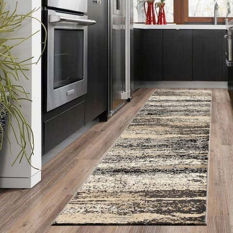 """LR Home Infinity Contemporary Abstract Gray/ Black Olefin Rug - 2'1"""" x 7'5"""" Runner"""