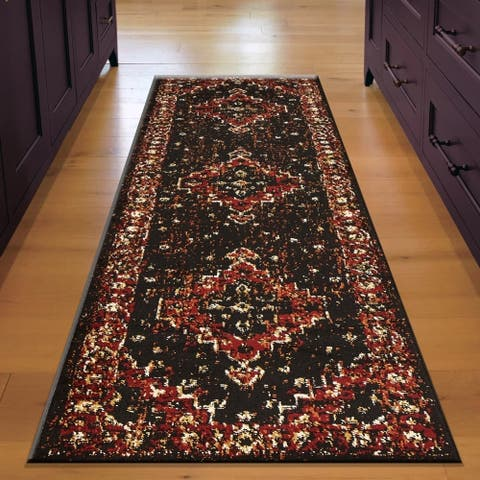 "LR Home Infinity Rustic Bordered Black/ Beige Olefin Rug - 2'1"" x 7'5"""