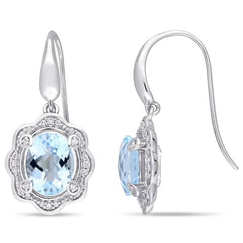 Miadora Sterling Silver Sky-Blue Topaz and 1/5ct TDW Diamond Floral Hook Earrings