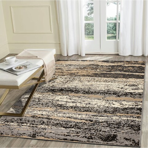 """LR Home Infinity Neutral Abstract Indoor Area Rug ( 5'2"""" x 7'2"""" ) - 5'2 X 7'2"""