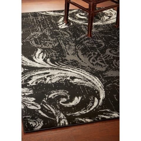 "LR Home Infinity Black / Anthracite Swirl Area Rug ( 5'2"" x 7'2"" ) - 5'2 X 7'2"