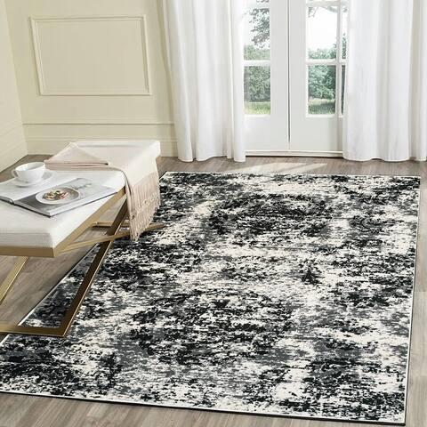 "LR Home Infinity White / Black Distressed Area Rug ( 5'2"" x 7'2"" ) - 5'2 X 7'2"