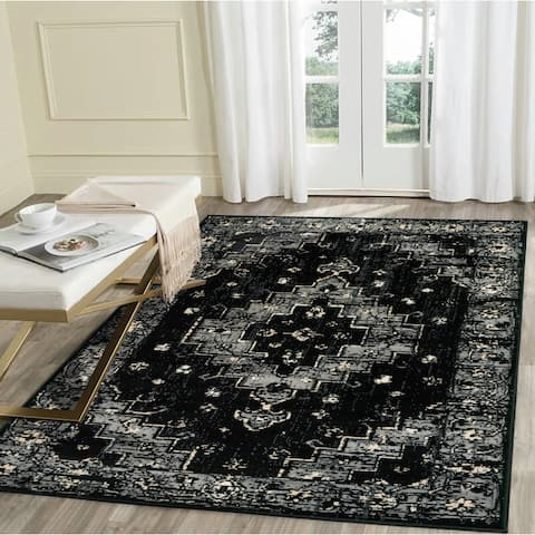 "LR Home Infinity Black Geometric Medallion Area Rug ( 5'2"" x 7'2"" ) - 5'2 X 7'2"