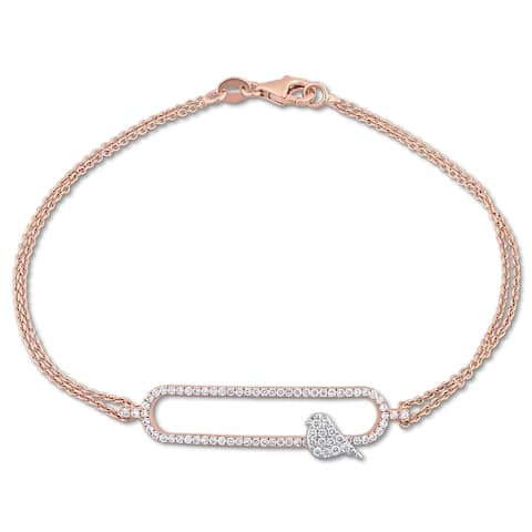 Miadora Signature Collection 2-Tone 18k White and Rose Gold 1/3ct TDW Diamond Stationed Bird Bracelet