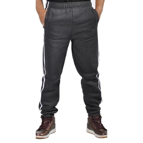 Mens Fleece 3 Pocket Elastic Waist Cuffed Side Striped Joggers