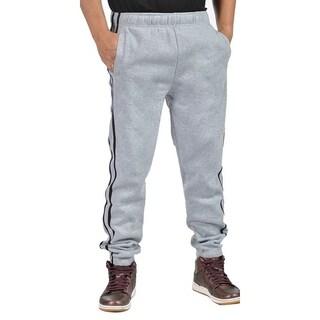 Mens Fleece 3 Pocket Elastic Waist Cuffed Side Striped Joggers