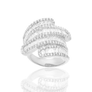Unique Cubic Zirconia Bypass Ring - White
