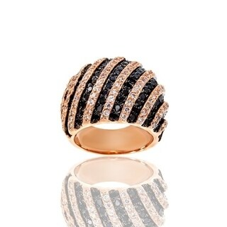 Cubic Zirconia Striped Dome Rose Gold Plated Ring