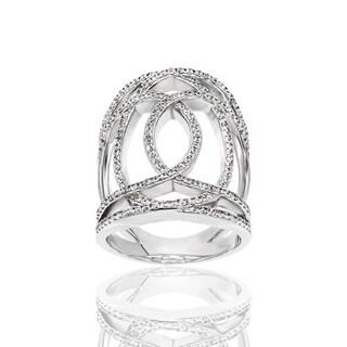 Open Work Cubic Zirconia Loop Design Ring - White