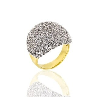 Cubic Zirconia Pave Dome Gold Plated Ring