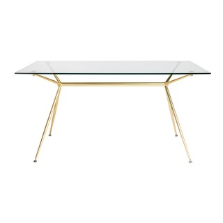 "Atos 60"" Rectangle Dining Table/Desk with Clear Tempered Glass Top and Matte Brushed Gold Base"
