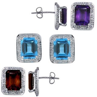 Kabella Gemstone 14k white gold emerald cut birthstone and diamonds Earring (2 options available)