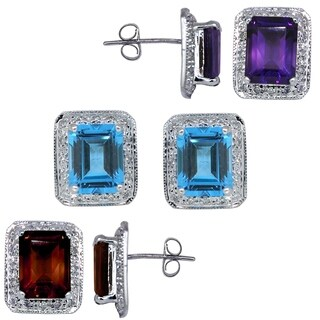 Kabella Gemstone 14k white gold emerald cut birthstone and diamonds Earring