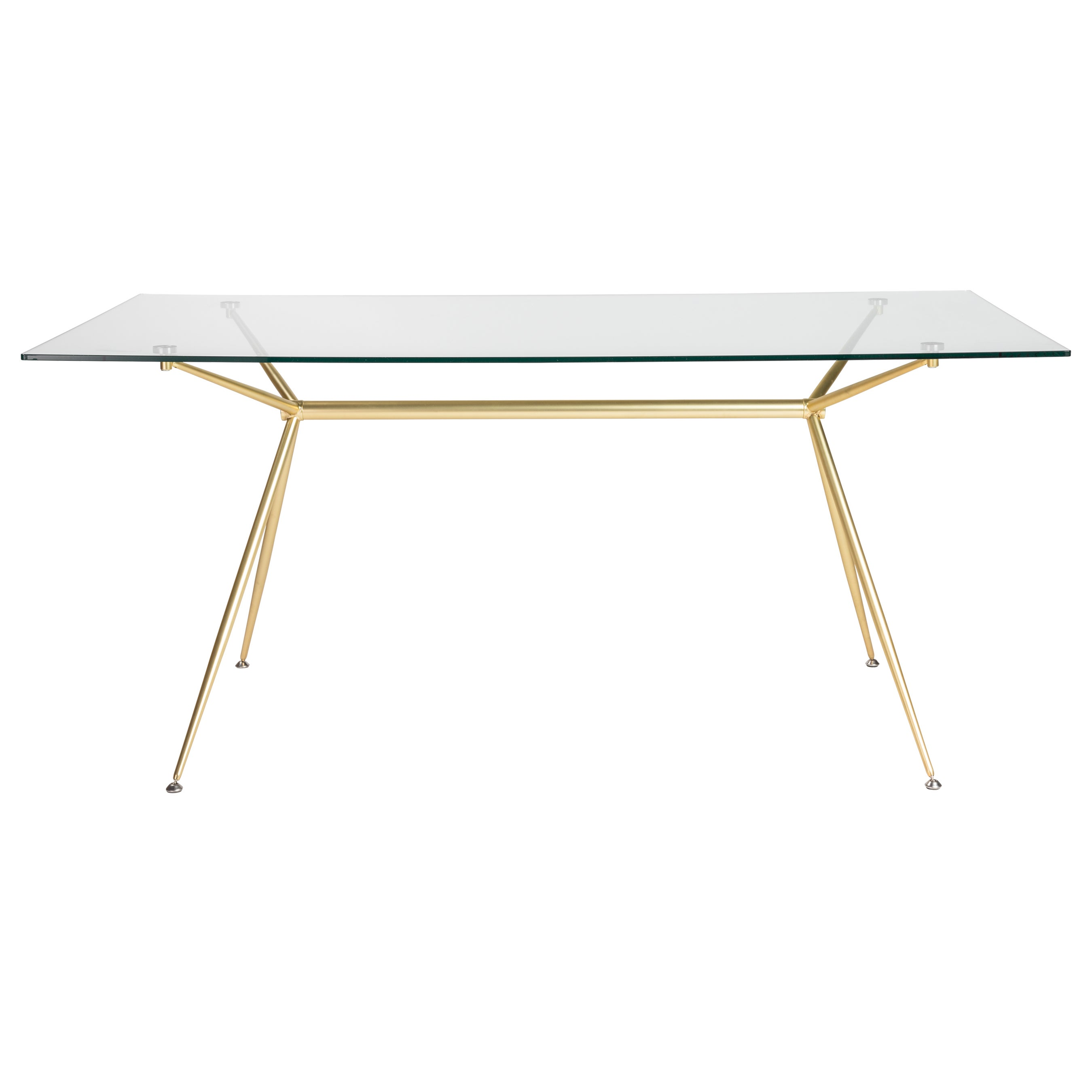 Atos 66 Rectangle Dining Table Desk With Clear Tempered Gl Top And Matte Brushed Gold Base