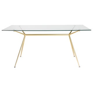 "Atos 66"" Rectangle Dining Table/Desk with Clear Tempered Glass Top and Matte Brushed Gold Base"