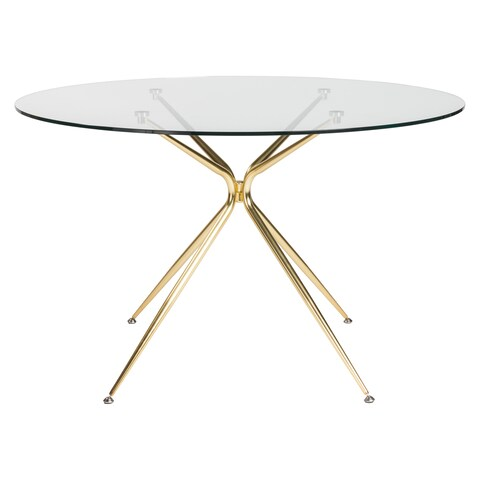 """Atos 48"""" Round Dining Table with Clear Tempered Glass Top and Matte Brushed Gold Base"""