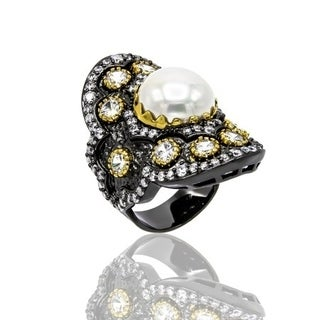 MOP Pearl and Cubic Zirconia Black Rhodium Plated Ring