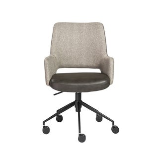 Desi Office Chair in Light Brown Fabric and Dark Gray Leatherette with Black Base